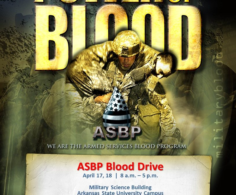 Armed Services Blood Drive April 17-18 at the Military Science Building (ASU Armory).