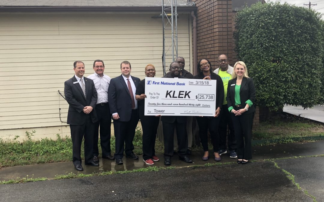 First National Bank Makes Major Donation of $25,738 to Build New KLEK Tower