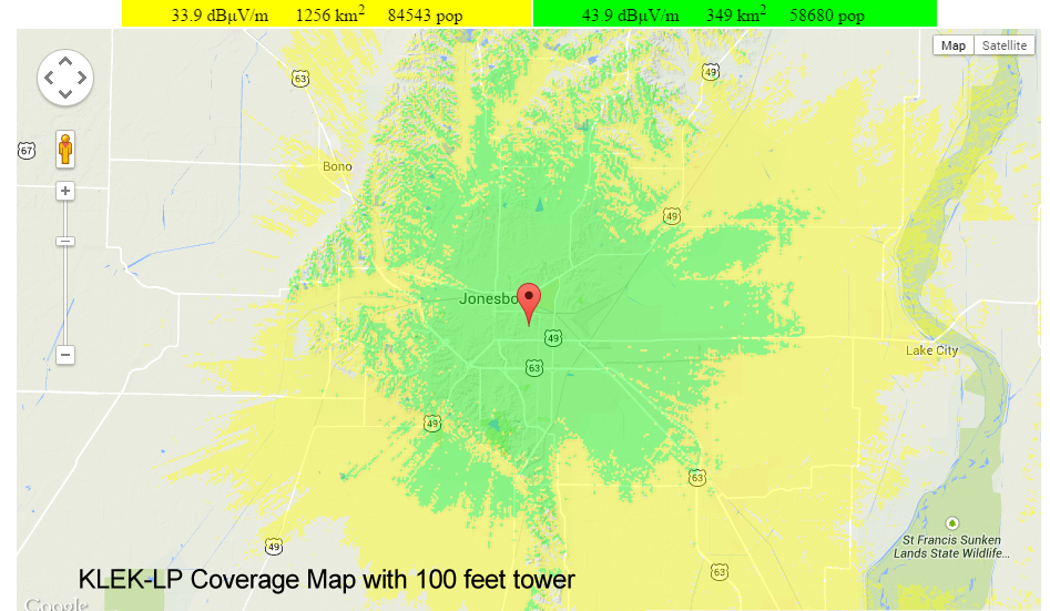 KLEK Longley-Rice Coverage Map at 100 feet