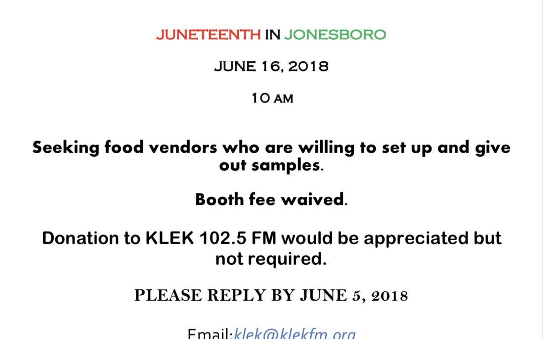 CHANGE IN FOOD VENDORS FOR JUNETEENTH CELEBRATION