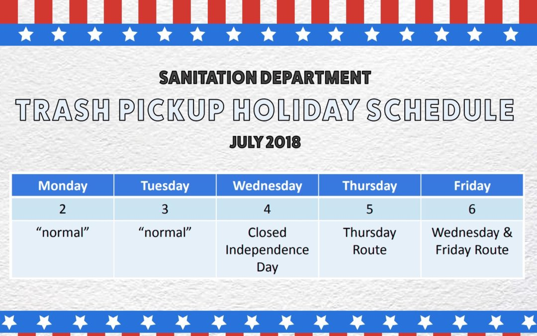 City of Jonesboro Holiday Sanitation Pickup Schedule