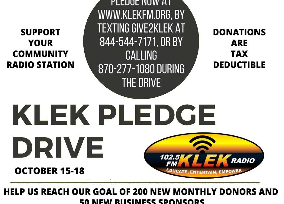 The KLEK Fall Pledge Drive is October 15-18. Help Keep KLEK on the Air!