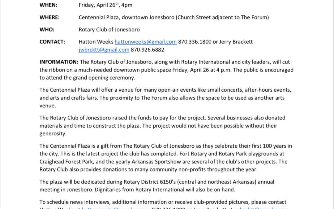 Jonesboro's Centennial Plaza Dedication Set for April 26, 2019