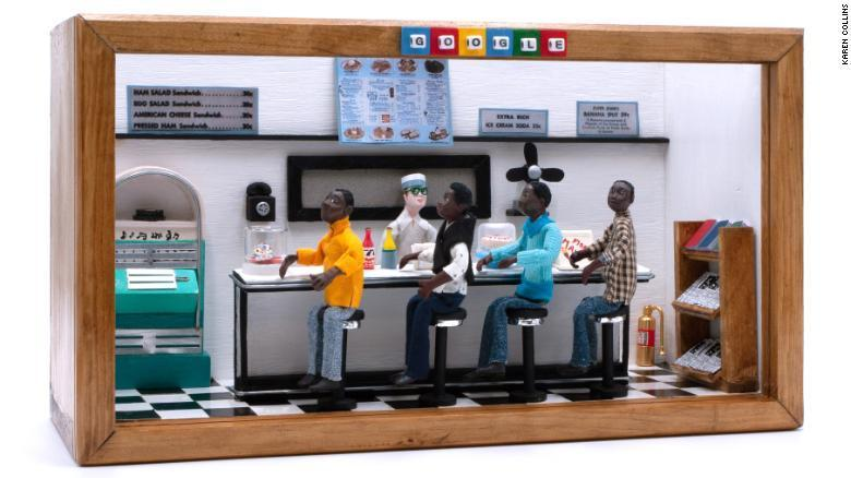 "African American Miniature Museum Founder and Artist Karen Collins Has""Greensboro Four"" Piece Highlighted by Google to Kick off Black History Month"